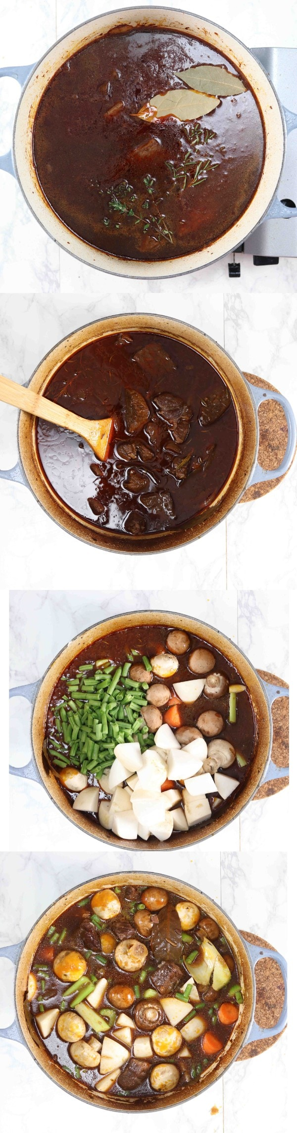Pictures showing how to make a gluten free low carb beef stew step by step.