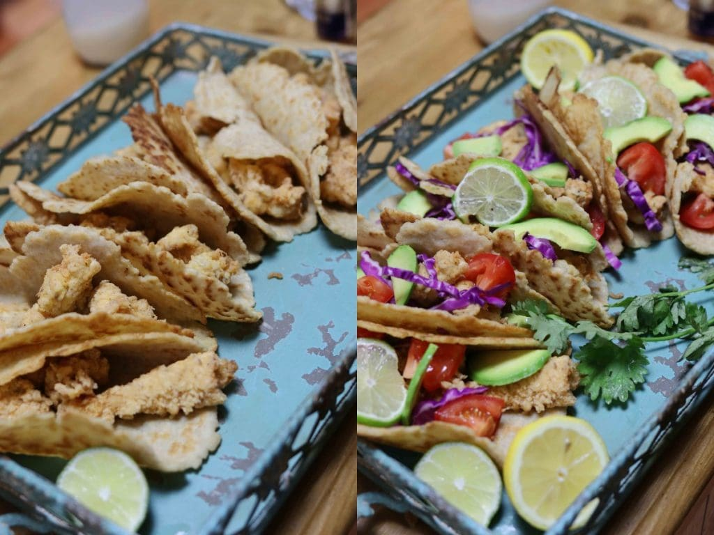 Steps showing how to make gluten free fish tacos from scratch!