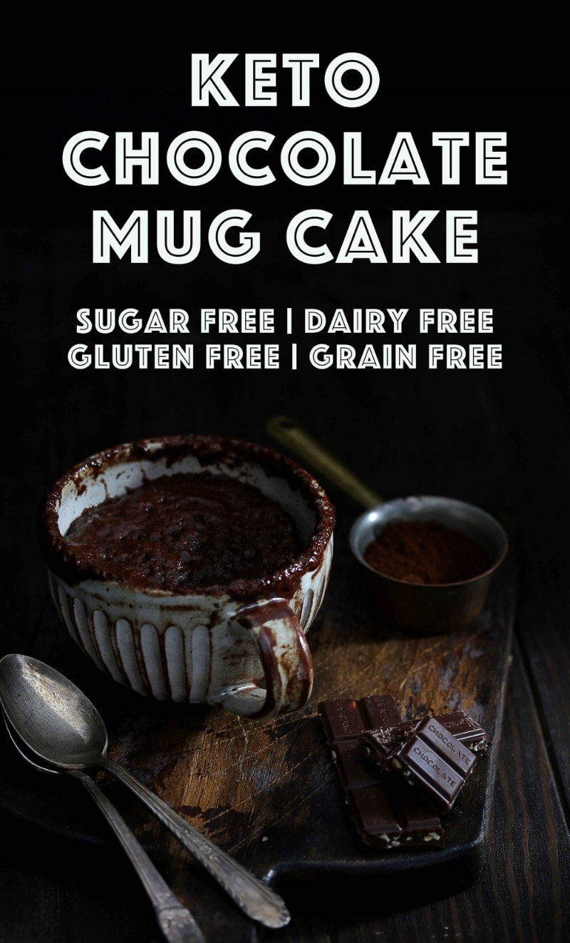 Keto Chocolate Mug Cake - My PCOS Kitchen - A gooey chocolate mug cake ready in less than 2 minutes! Plus it can be made nut free, with different sweeteners and it's all dairy free and sugar free! #chocolatemugcake #chocolatebrownie #browniemugcake #ketomugcake #ketochocolatemugcake #lowcarbmugcake #chocolate