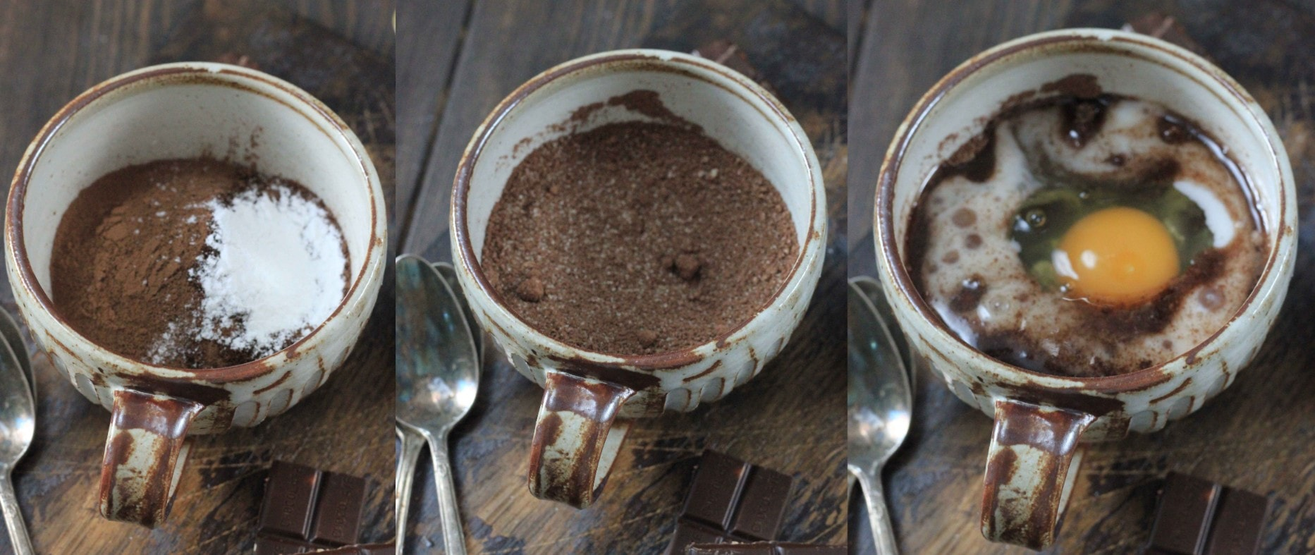 Steps showing how to make a keto mug cake that's completely dairy free.