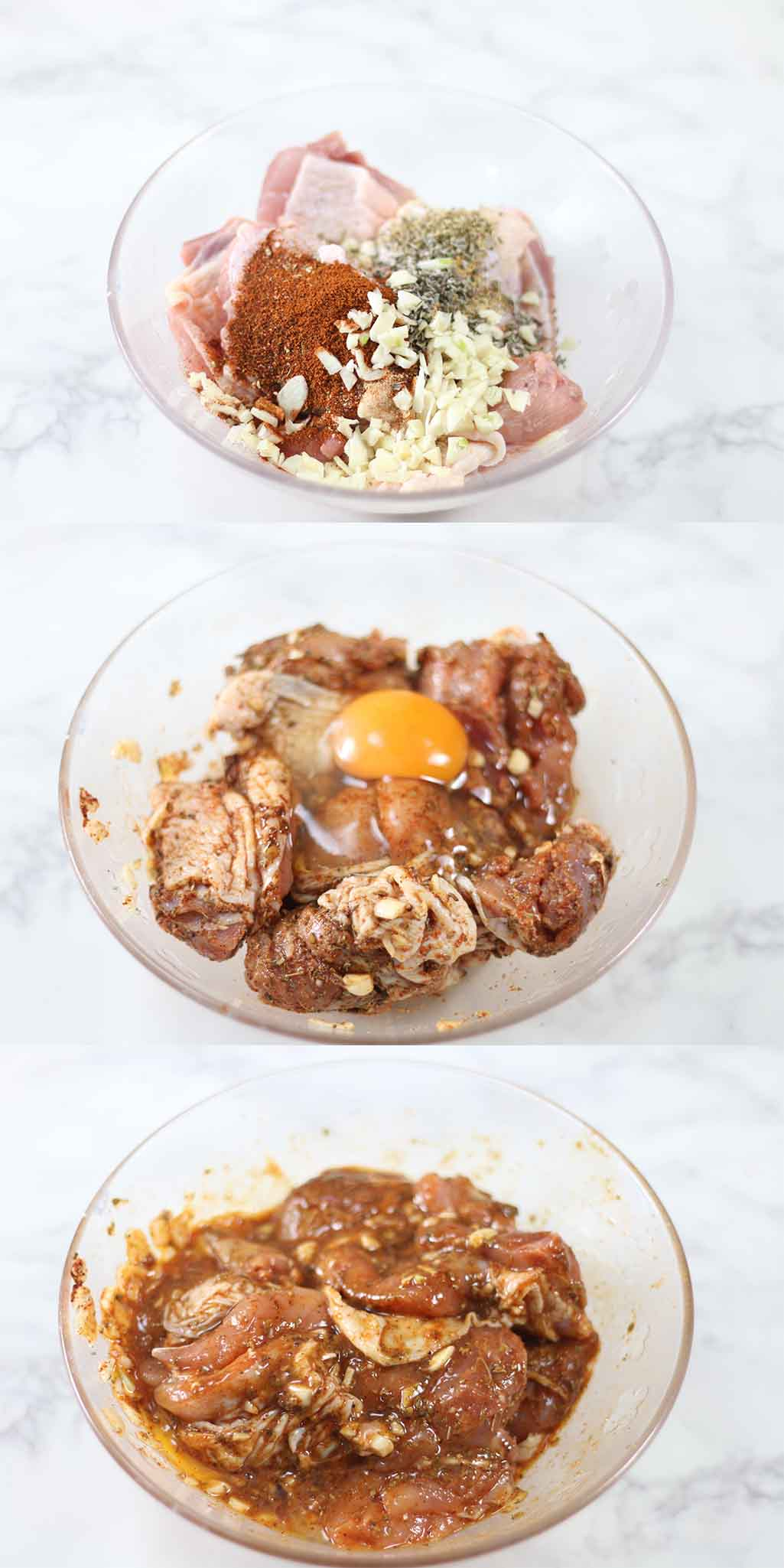 Low carb fried chicken marinating in spices.