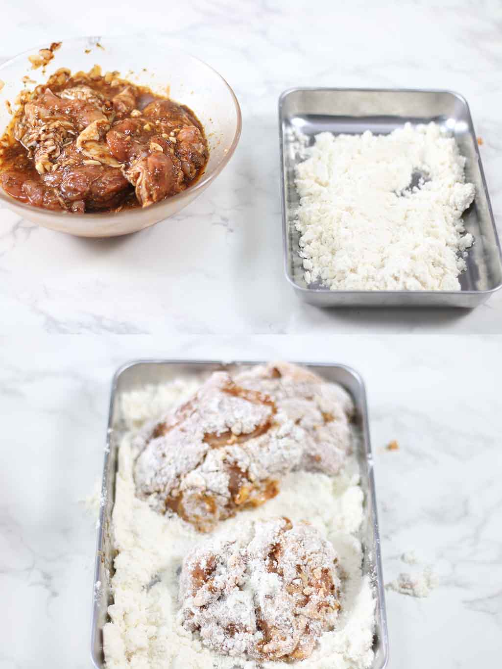 Steps showing how to bread low carb fried chicken with whey protein isolate.