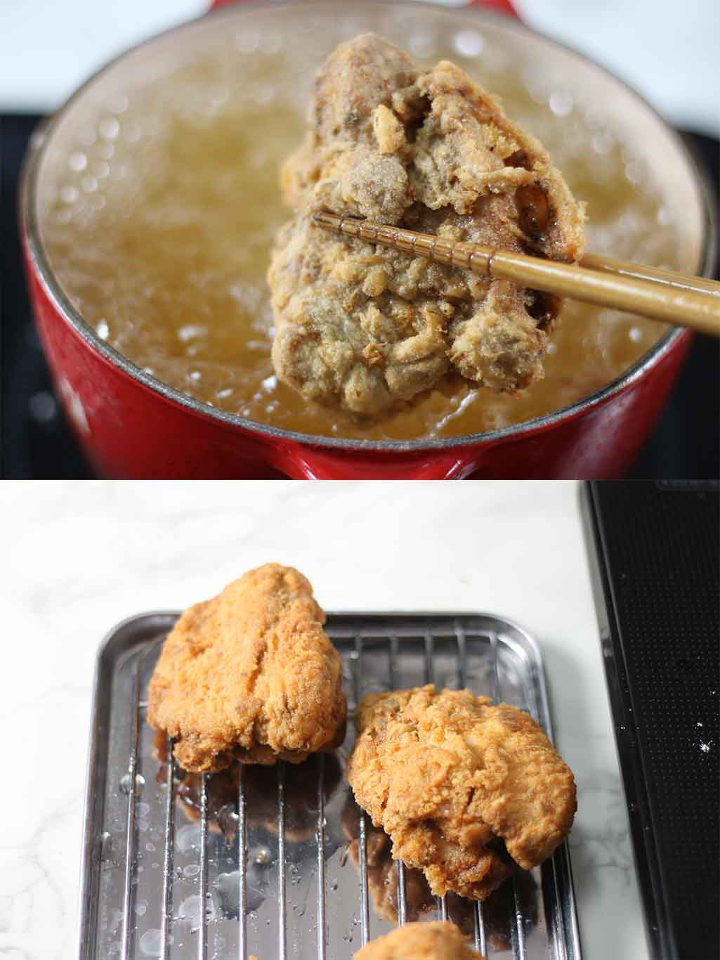 Deep fry your healthy crispy fried chicken in lard until ready.