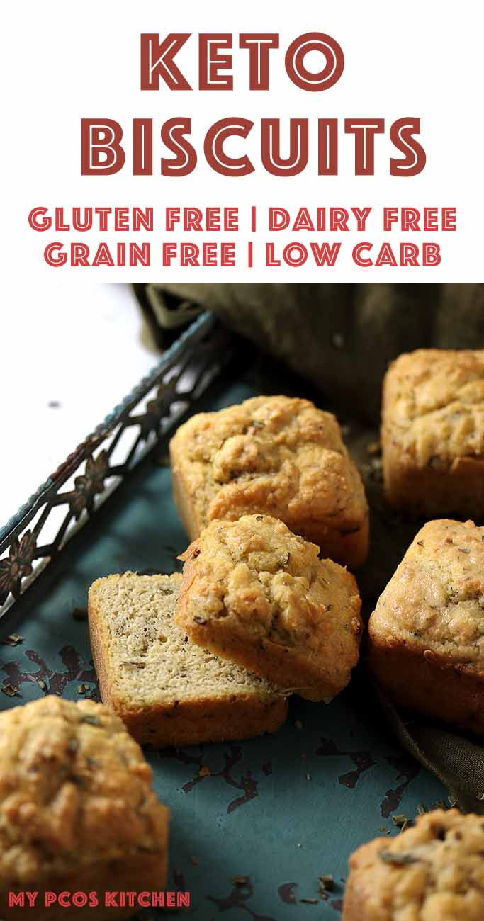 Low Carb Paleo Almond Flour Biscuits - My PCOS Kitchen - These dairy free biscuits are freezer-friendly, quick to make and easy to reheat! #biscuits #breakfastbiscuits #ketobiscuits #paleobiscuits #lowcarbbiscuits #dairyfreebiscuits #redlobsterbiscuits