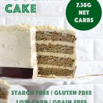 This amazing low carb zucchini cake has four delicious moist and crumbly layers covered in sugar free cream cheese frosting! #zucchinicake #creamcheesefrosting #lowcarbzucchinicake #mypcoskitchen