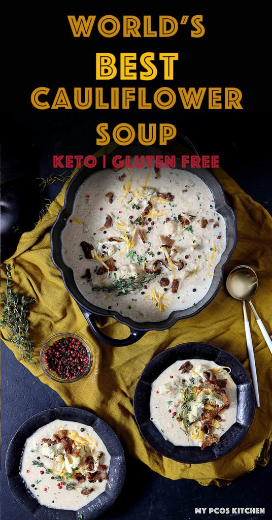 This healthy keto cauliflower soup is so hearty and delicious, you won't ever want to make another soup again! #ketosoup #cauliflowersoup #roastedcauliflowersoup #creamofcauliflower #mypcoskitchen