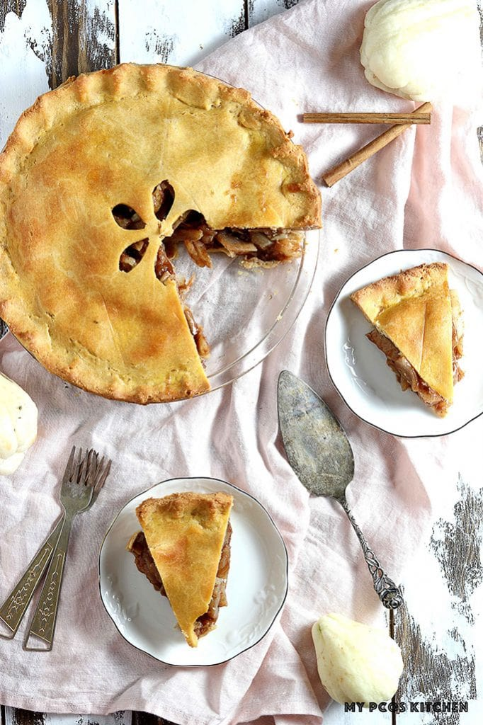 A low carb mock apple pie using a cream cheese pie crust.