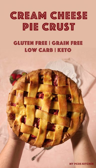 This AMAZING cream cheese pie crust is easy to work with, super pliable, and completely gluten free and starch free #lowcarbpie #piecrust #glutenfreepiecrust #mypcoskitchen