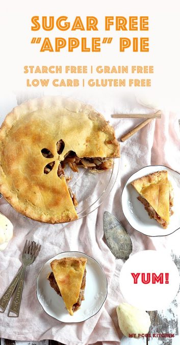 This sugar free apple pie is just like the title says! No sugar or fruit were used to make this healthy apple pie! #KETOPIE #LOWCARBPIE #APPLEPIE #PCOSDIET #MYPCOSKITCHEN