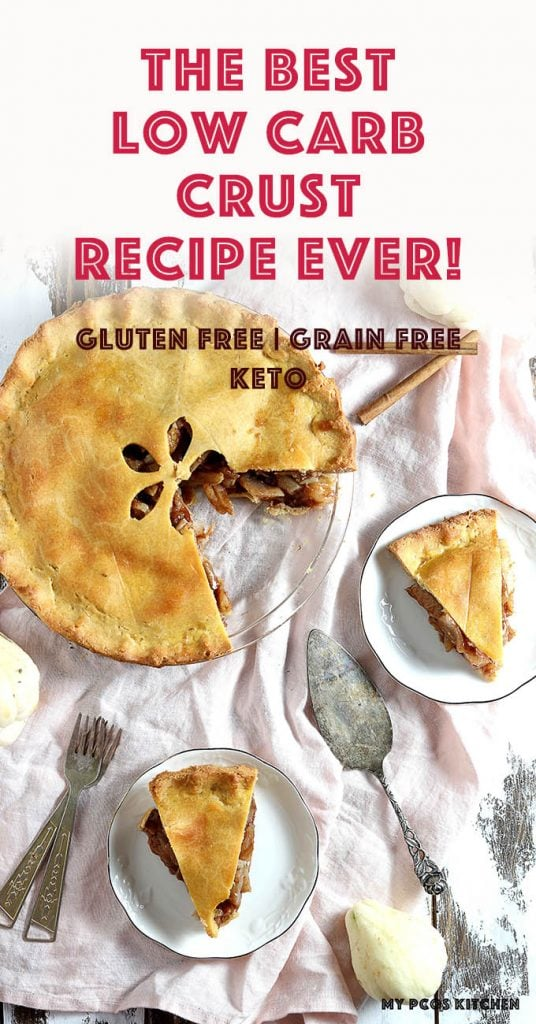 You won't believe how easy this low carb pie crust is to make! Just mix, knead and roll out and you'll have yourself a delicious low carb dinner or dessert ready in no time! #ketogenicrecipes #piecrust #glutenfreepie #lowcarbpie #ketopie #mypcoskitchen