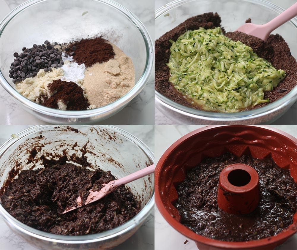 Steps showing how to make a keto chocolate cake with zucchini.