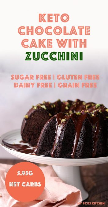 If you haven't tried this healthy and easy chocolate zucchini cake, then you're missing out! It's so moist and crumbly due to the zucchini, it's honestly the easiest recipe you'll ever make. Made in a bundt mold, this low carb chocolate cake is completely sugar free and dairy free! #chocolatecake #ketocake #zucchini #lowcarbcake #mypcoskitchen