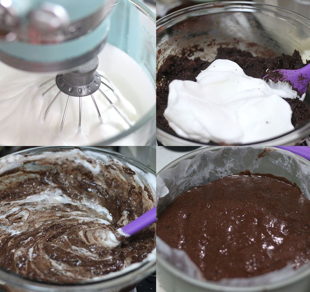 Steps showing how to make a sugar free black forest cake.