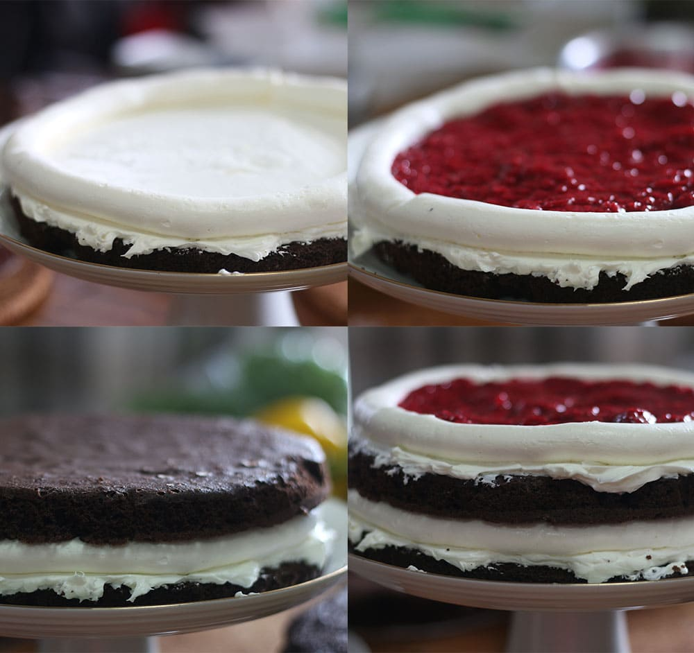 Steps showing how to make a German Black Forest Cake that's low carb.