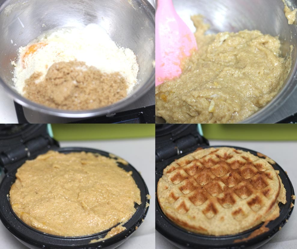 Images showing how to make keto waffles dairy free.