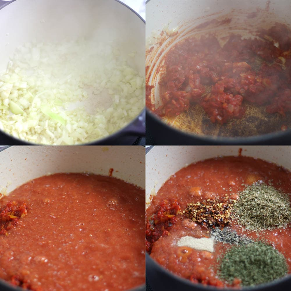 Images showing different steps taken for making keto pizza sauce.