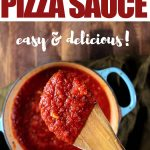 This homemade pizza sauce recipe is the perfect Italian homemade sauce. It's easy and authentic, you can make this low carb pizza sauce with fresh tomatoes or canned tomatoes! #tomato #tomatosauce #pizzasauce #mypcoskitchen