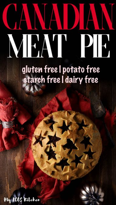 This delicious Canadian meat pie is the traditional tourtiere recipe from Quebec! It's super easy to make and makes the perfect side dish or main dish to your Christmas or Thanksgiving dinner. #meatpie #tourtiere #lowcarbpie #mypcoskitchen