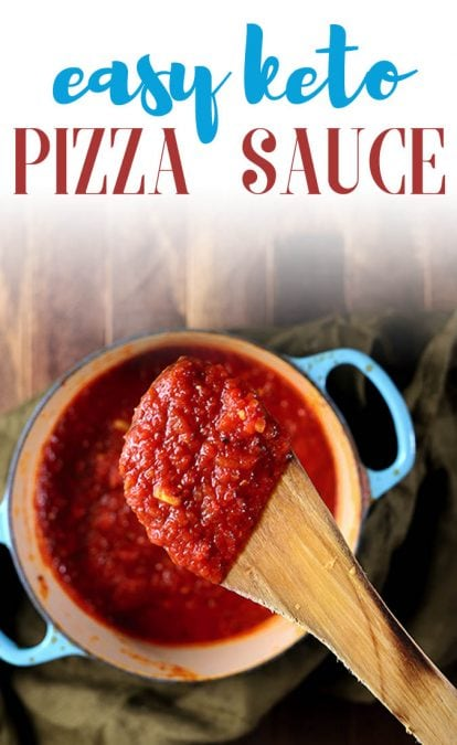 This easy keto pizza sauce recipe is the best recipe you'll ever make! With no sugar added, you'll love making this homemade pizza sauce. #pizzasauce #ketopizza #ketorecipe #mypcoskitchen