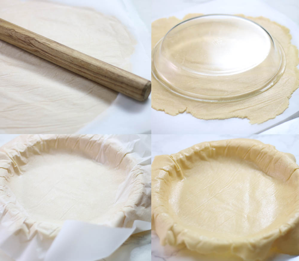 Images showing how to make a keto pie crust that's dairy free.