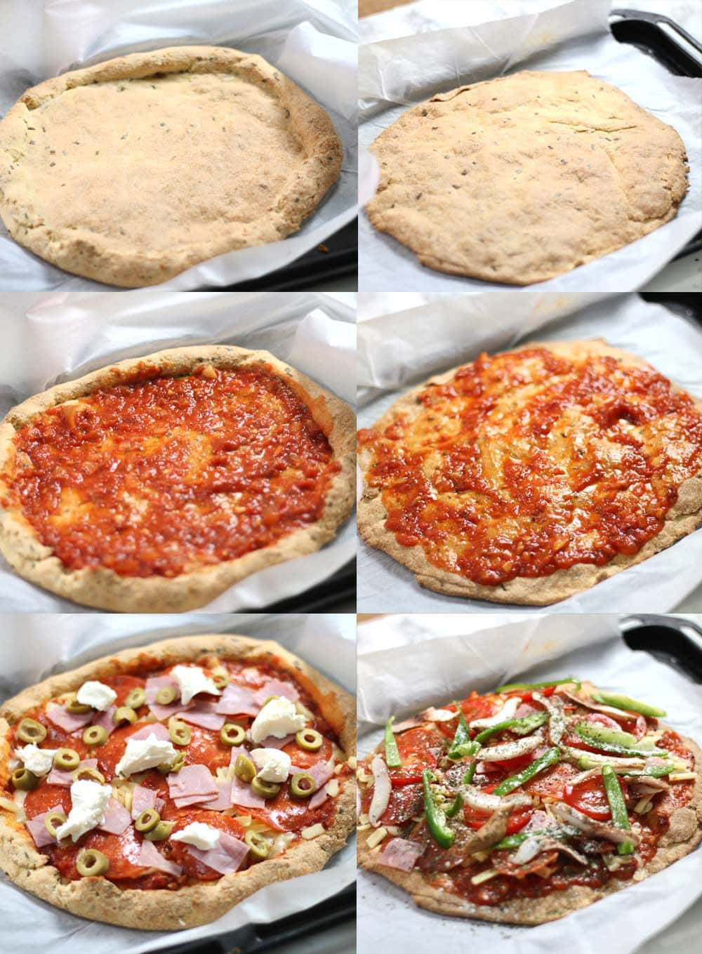Images showing how to make a thick or thin gluten free pizza crust.