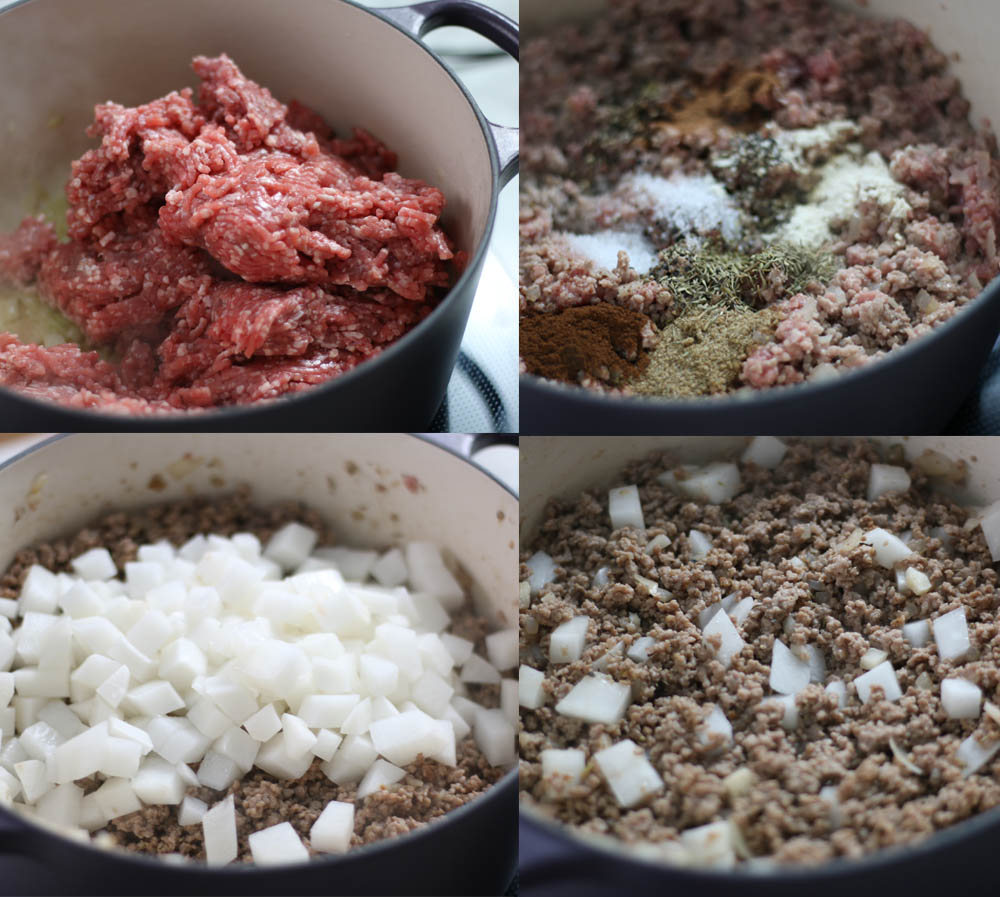 Images showing how to make the filling for a tourtiere.