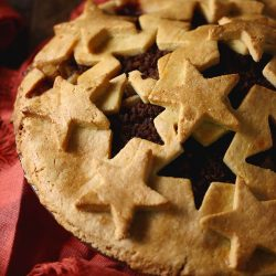 A low carb pie crust design made with a cream cheese pie crust recipe with star designs.