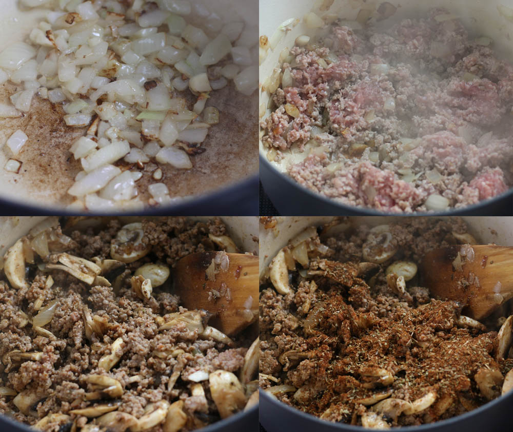 Images showing how to make a low carb taco soup on the stove top.