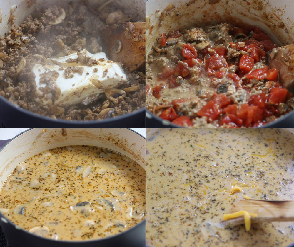 Images showing how to make keto taco soup in a dutch oven.