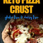 This easy almond flour and coconut flour low carb pizza crust is dairy free and gluten free. It's the best keto friendly crispy or chewy pizza crust recipe you'll ever make. #ketopizza #ketopizzarecipe #glutenfreepizzacrust #mypcoskitchen