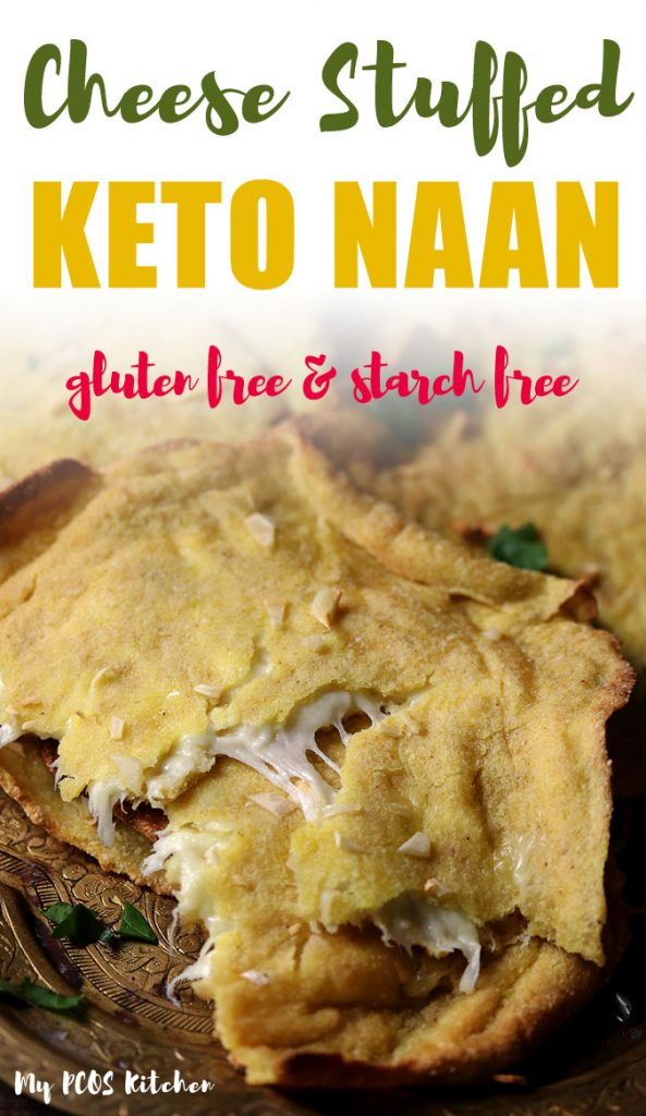 Nothing tastes better than homemade naan stuffed with mozzarella cheese. These keto naans are so stretchy and soft, you'll love dipping them into Indian curries. Try this easy gluten free naan recipe for a weeknight dinner full of flavor! #naanrecipe #indiannaan #glutenfreenaan #keto #mypcoskitchen