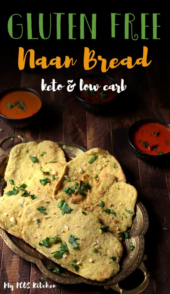 These gluten free naan recipe is super healthy and is made with no yeast! It's super quick to make and is dairy free! You'll love using this naan bread for your favorite Indian curry recipes! #curry #naan #naanbread #ketodiet #mypcoskitchen