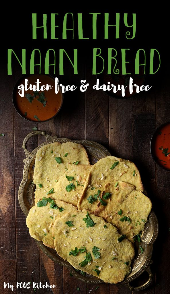 These dairy free naan are made with coconut flour, almond flour and psyllium husk. They are super healthy and easy to make. This low carb naan recipe requires no yeast and is ready in less than 30 minutes. #naan #indiannaan #lowcarbrecipe #mypcoskitchen