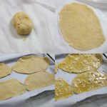 Images showing how to form low carb naan flatbread.