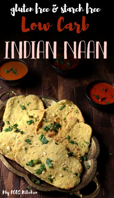 You won't believe how delicious these Indian naans are! They are so easy to make, require no yeast or yogurt and are completely gluten free! Use these low carb naan bread to dip into your favorite Indian curries. #indianrecipe #ketorecipe #ketobread #lowcarbbread #mypcoskitchen