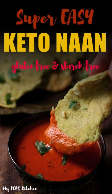 This keto naan recipe is legit delicious and easy to make! Made with gluten free ingredients and no yeast, you'll love how easy it is to make low carb naan! No need to knead this keto bread recipe and it's ready in less than 30 minutes. #ketobread #ketonaan #naanrecipe #mypcoskitchen
