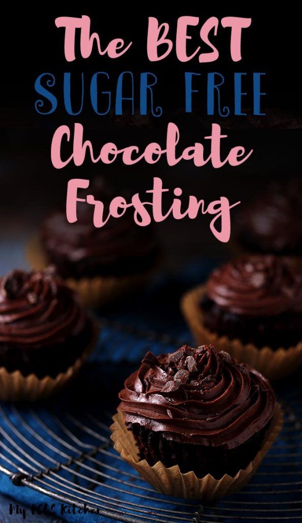 This delicious sugar free chocolate frosting is the perfect low carb buttercream frosting recipe to make for low carb and keto desserts. Use this amazing chocolate frosting over your favorite cakes, cupcakes and brownies!