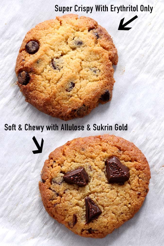 Crispy vs Chewy Keto Chocolate Chip Cookie