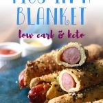 Delicious dairy free pigs in a blanket wrapped in a magic keto dough. These super crispy and juicy sausage rolls are the perfect low carb appetizer to serve. Serve with your favorite low carb dipping sauce.