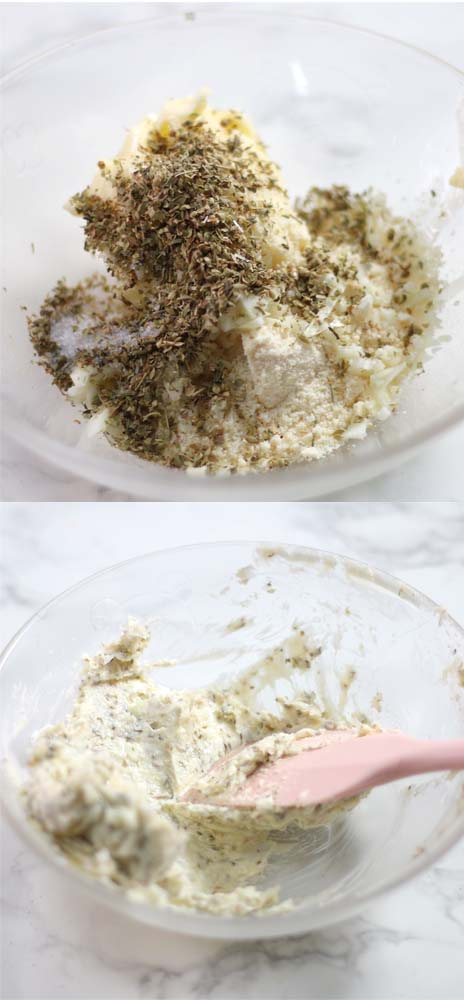 Images showing how to make homemade garlic butter with fresh garlic and parmesan.