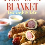 These crispy and easy gluten free pigs in a blanket are wrapped in a low carb keto magic dough made without dairy! Serve these amazing sausage rolls at a party or as an appetizer for the perfect low carb treat.