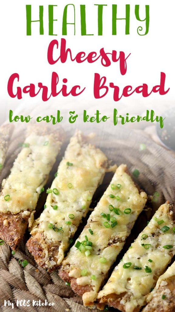 Easy garlic bread with cheese made with almond flour, coconut flour and psyllium husk powder. Quick and delicious, you'll love this low carb recipe for cheesy garlic bread.