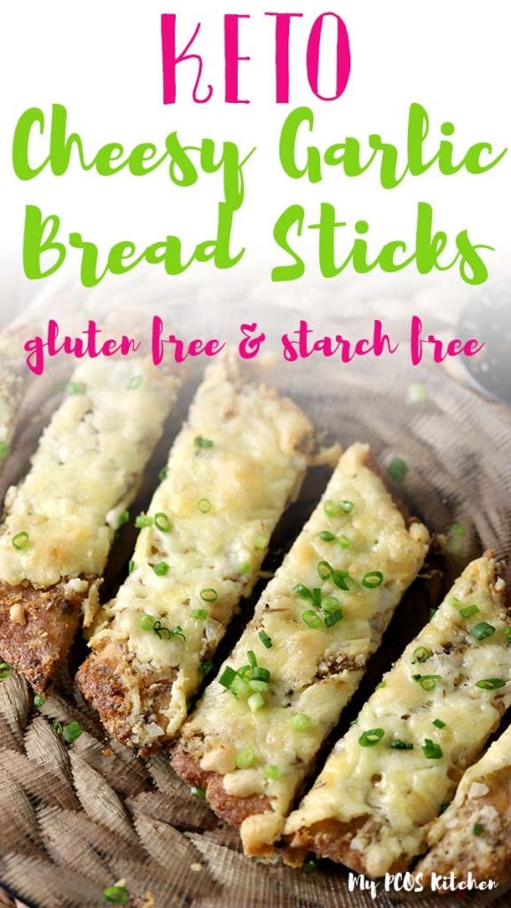 This amazing healthy and easy recipe for cheesy garlic bread is so crispy, fluffy, garlicky and cheesy. Serve this homemade garlic bread with your favorite low carb dipping sauces for the best keto appetizer.