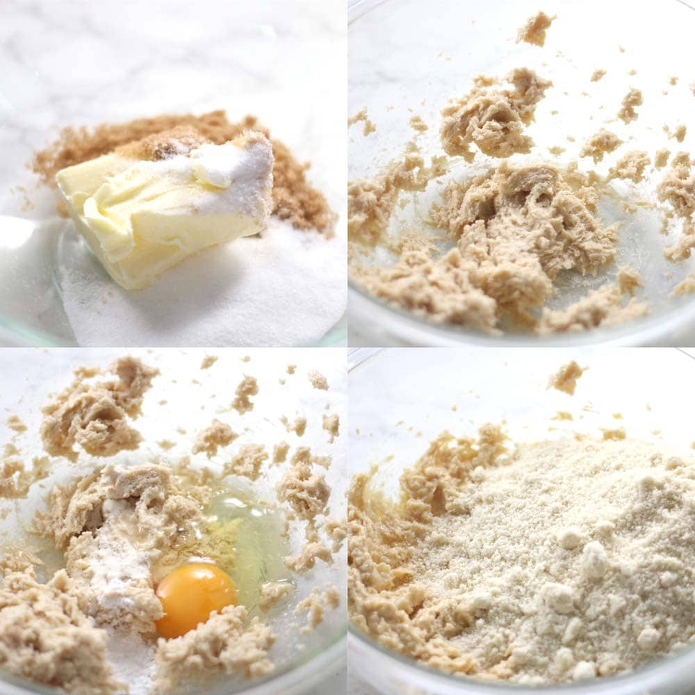 Images showing how to make keto chocolate chip cookies with allulose.