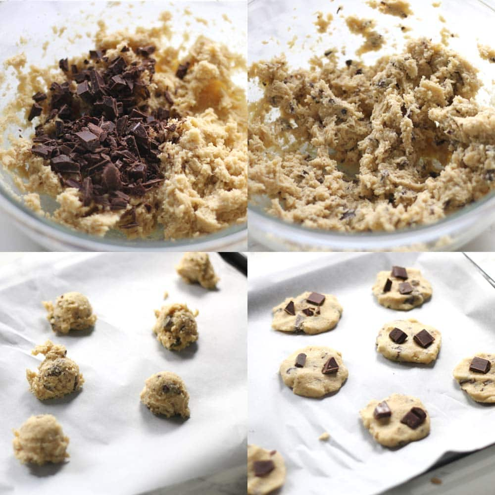 Images showing how to make low carb chocolate chip cookies with almond flour.