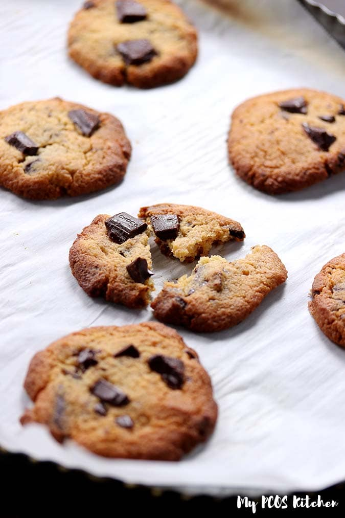 Delicious sugar free chocolate chip cookies made low carb and keto.
