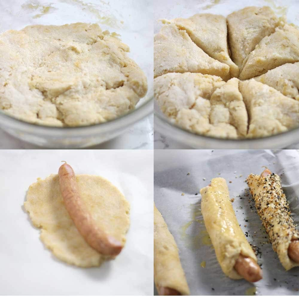 Images showing how to roll low carb pigs in a blanket step by step
