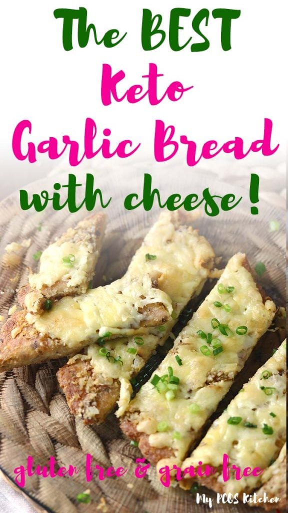 This amazing low carb garlic bread is easy to make and super healthy. This keto recipe uses coconut flour, almond flour and psyllium husk powder. Topped with lots of mozzarella cheese, it's the best cheesy garlic bread recipe you'll ever make.