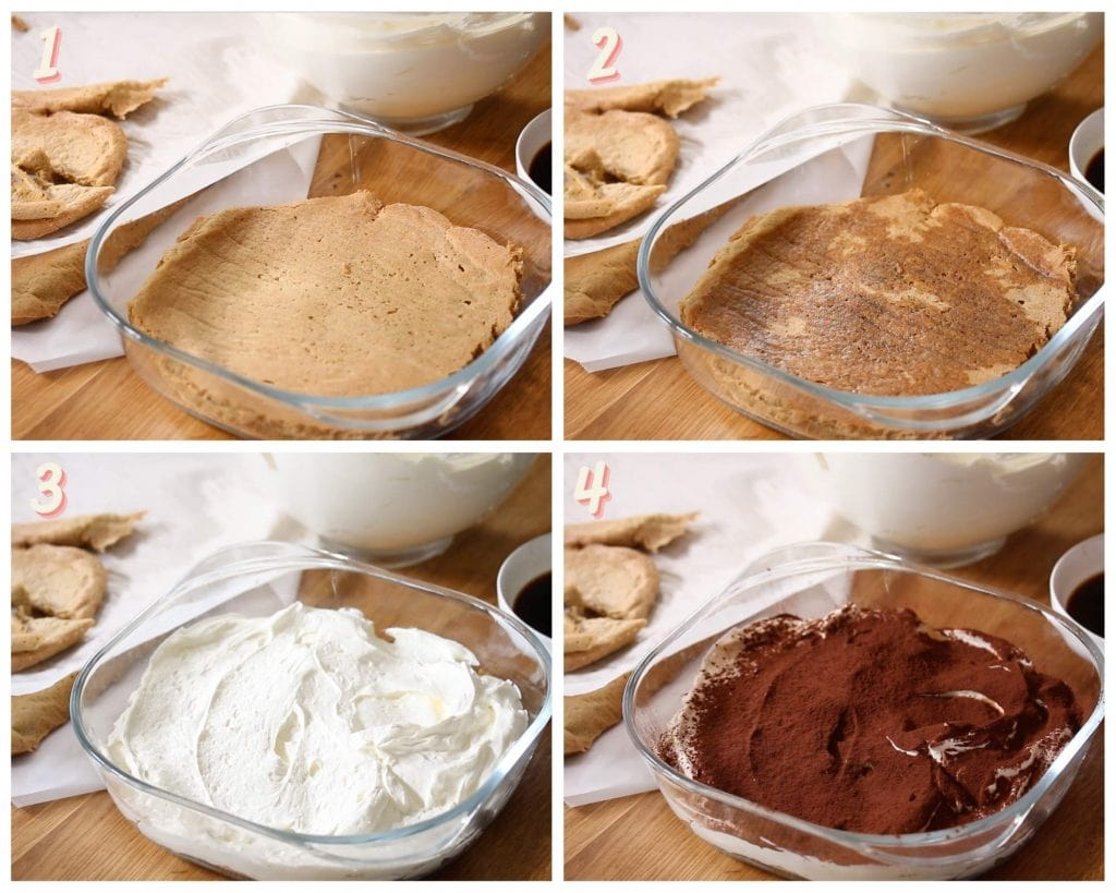 Images showing how to assemble a low carb tiramisu with a sponge cake.