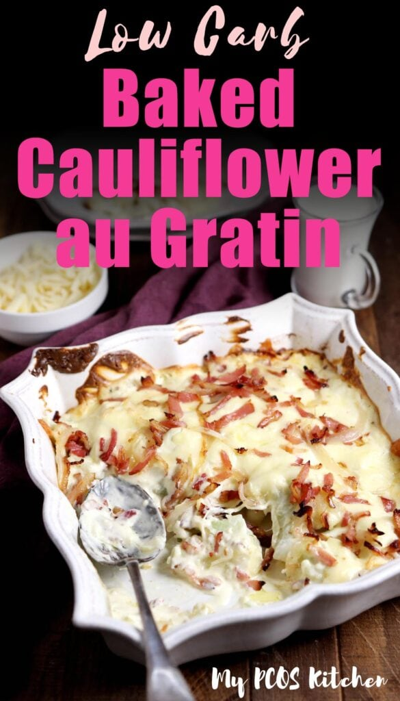 A delicious and easy creamy cauliflower au gratin baked in the oven. It's loaded with bacon and onions and made with heavy cream and cream cheese instead of flour. This is the perfect low carb dinner idea for the family.
